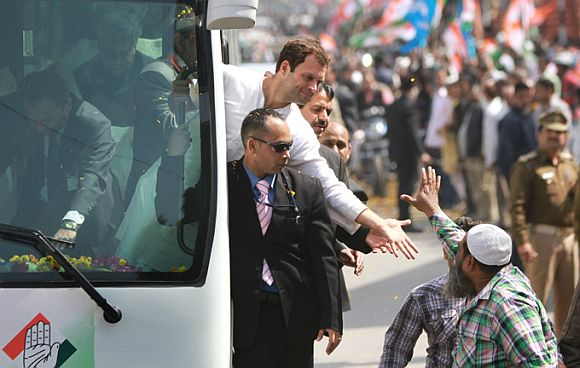 Rahul Gandhi greets a voter on the campaign trail