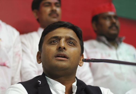 Akhilesh Yadav speaking to mediapersons at the SP headquarters in Lucknow