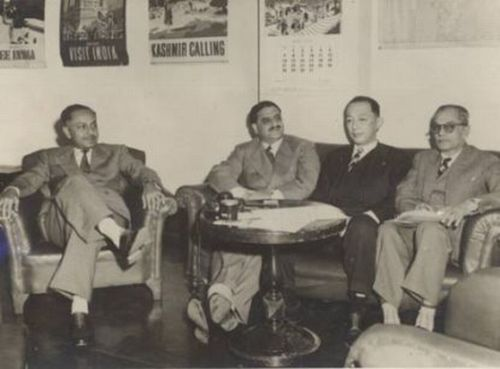 The above photograph shows (L-R) SN Maitra, Shah Nawaz Khan (Netaji's colleague from the INA), Keikichi Arai and Suresh Chandra Bose (Netaji's brother)