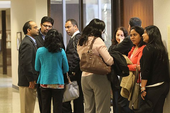 Dharun Ravi's family and friends outside the courtroom; (extreme left) Dharun's father Ravi Pazhani