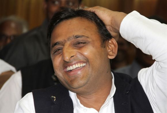 Akhilesh Yadav smiles during a meeting with the newly elected legislators at SP headquarters in Lucknow