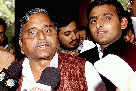File picture of Akhilesh Yadav with SP chief Mulayam Singh Yadav