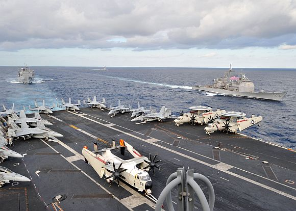 Ships from the Enterprise Carrier Strike Group are underway with the aircraft carrier USS Enterprise supporting maritime security operations and theater security cooperation efforts in the US 5th and 6th Fleet areas of responsibility