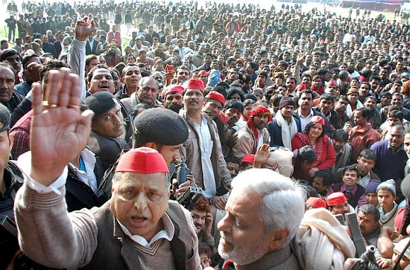 Mulayam Singh Yadav at an election rally