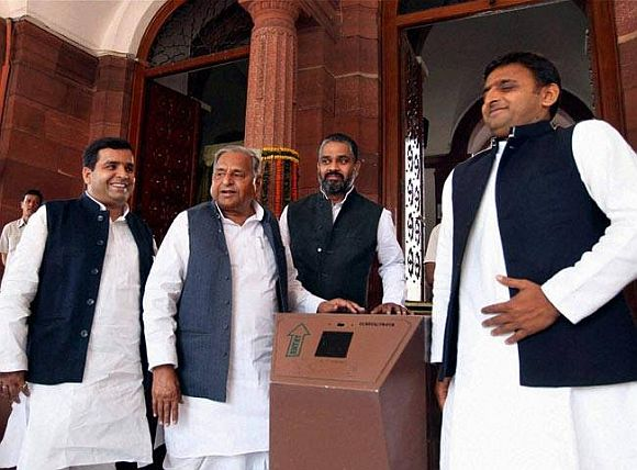 A file photo of Akhilesh (extreme right) with his father Mulayam Singh (second from left) outside Parliament