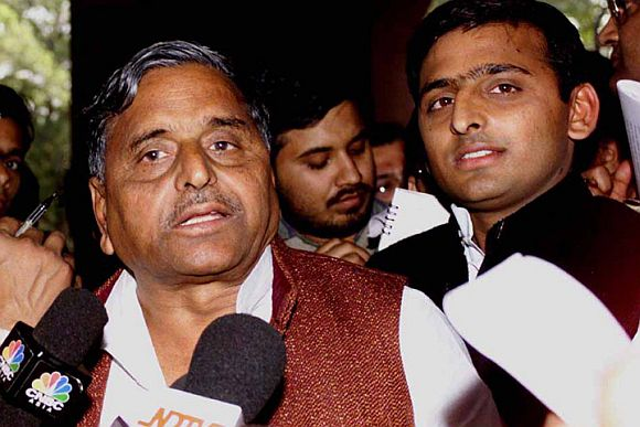 A file photo of Akhilesh with his father Mulayam Singh