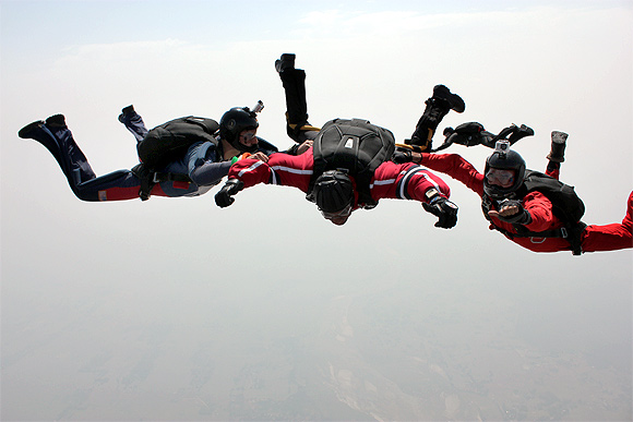 Lt Gen Halgali during the freefall jump