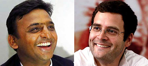 Uttar Pradesh CM Akhilesh Yadav and Congress General Secretary Rahul Gandhi