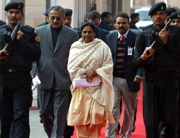 File picture of Mayawati surrounded by security personnel in Lucknow
