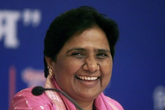 Mayawati smiles after her birthday celebrations in New Delhi in 2008