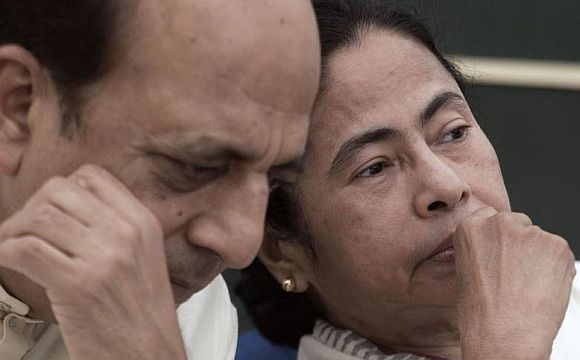 A file photo of Dinesh Trivedi with Mamata Banerjee.