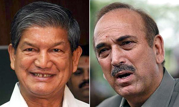 Union ministers Harish Rawat and Ghulam Nabi Azad