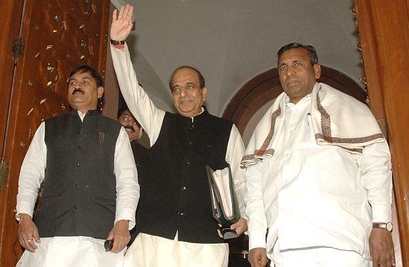 Railway Minister Dinesh Trivedi outside Parliament