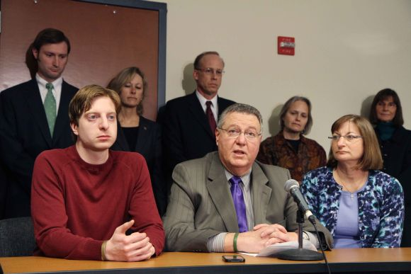 Tyler Clementi's family at a press conference after the verdict. From Left, James Clementi, brother of Tyler Clementi, Joseph Clementi and Jane Clementi, parents of Tyler Clementi