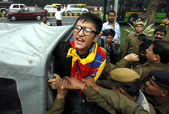 Pro-Tibet protestors at a demonstration in Delhi