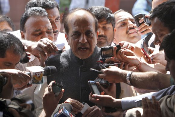 Dinesh Trivedi speaking to mediapersons outside the Parliament last week