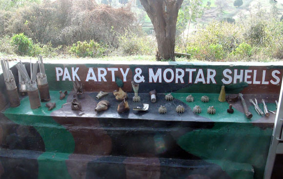 Pakistani artillery shells on display at a post