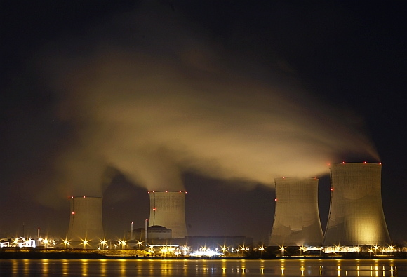 The Electricite de France nuclear power station of Cattenom near Thionville, Eastern France, is seen at night