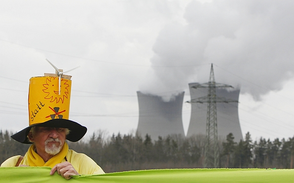A protester takes part at an anti-nuclear rally near the nuclear power plant Gundremmingen, Germany