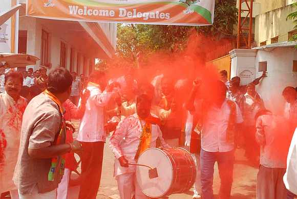 BJP supporrters rejoice after defeating TRS in Mahabubnagar