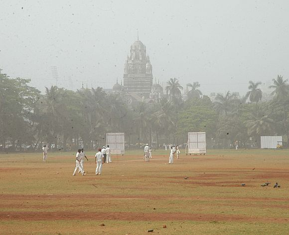 A hazy view of the Oval Maidan in Mumbai