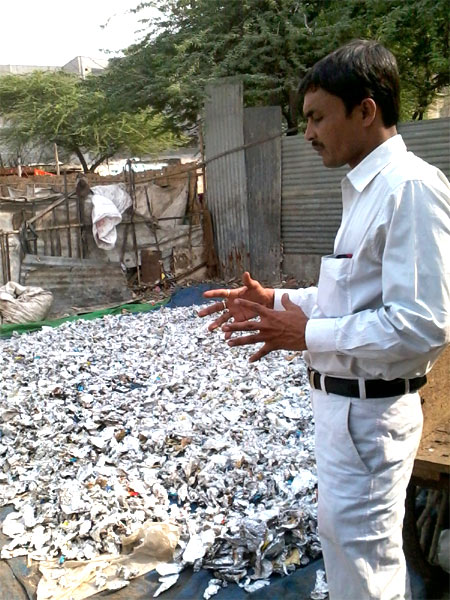 Prakash at a garbage collection and segregation centre near village Kotla in east Delhi