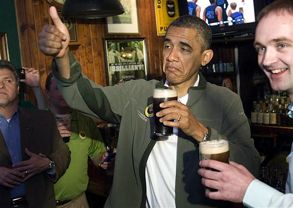 Obama's Guinness to smiling pig heads
