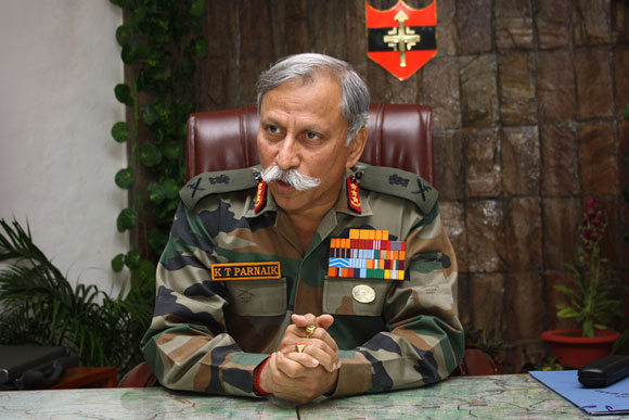General K T Parnaik at his office at the Northern Command headquarters in Udhampur, J&K