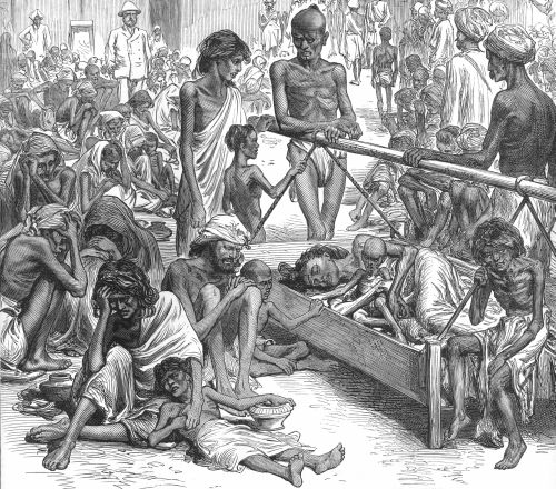 Archival illustration of the 1873 famine
