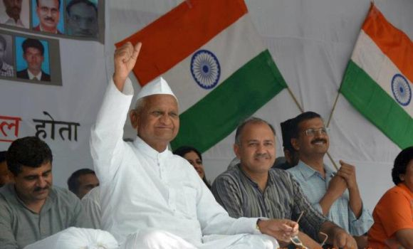 Anna Hazare on a one-day fast at Jantar Mantar in Delhi