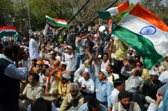 Anna Hazare supporters at the protest site