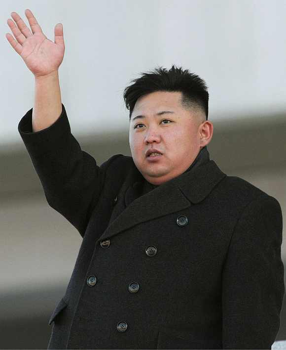 North Korean leader Kim Jong-Un at a military parade to mark the birth anniversary of its late leader Kim Jong-Il in Pyongyang on  February 16
