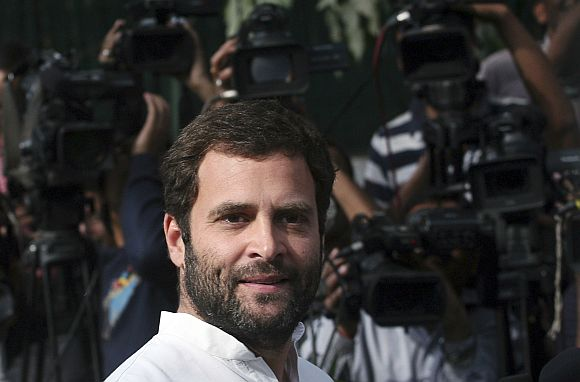 Rahul Gandhi speaks with the media in New Delhi following the poll debacle in UP