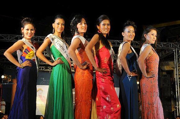 Contestants pose during the Miss Tibet  2011 contest