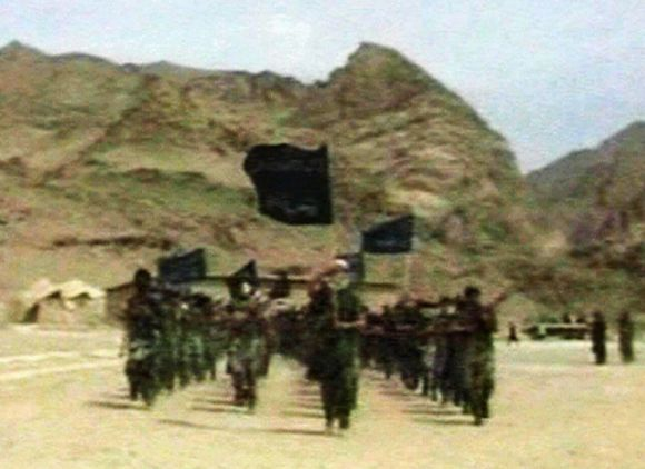 Frame grab shows Al Qaeda followers marching at a terror camp near Af-Pak border
