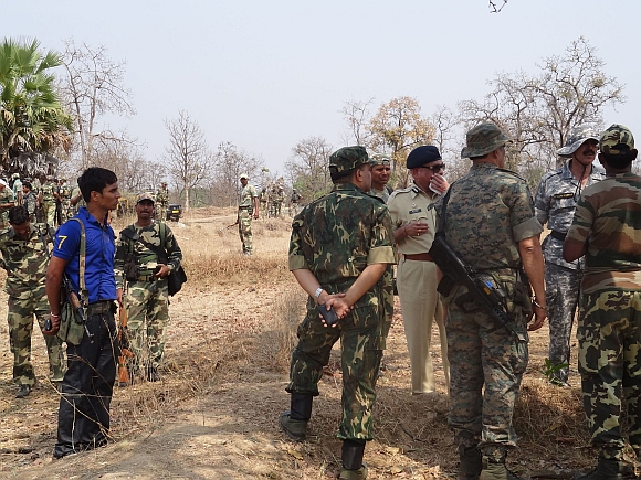 CRPF officials at the blast site