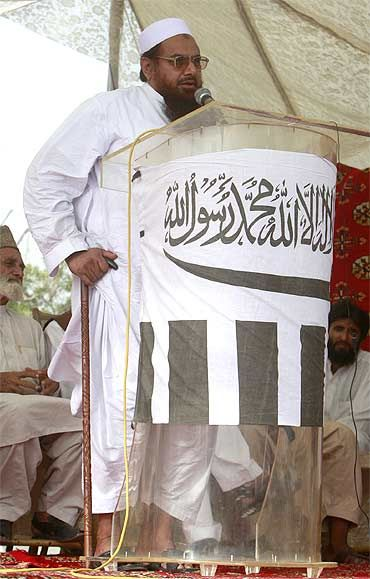 Lashkar-e-Tayiba founder and alleged 26/11 attacks mastermind Hafiz Saeed ar a protest rally in Karachi