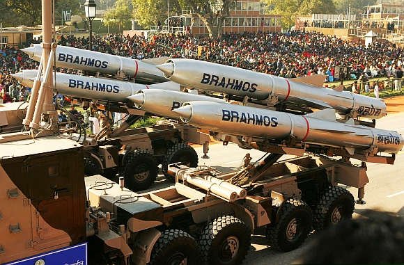 Brahmos supersonic cruise missiles, mounted on a truck, pass by during a full dress rehearsal for the Republic Day parade in New Delhi