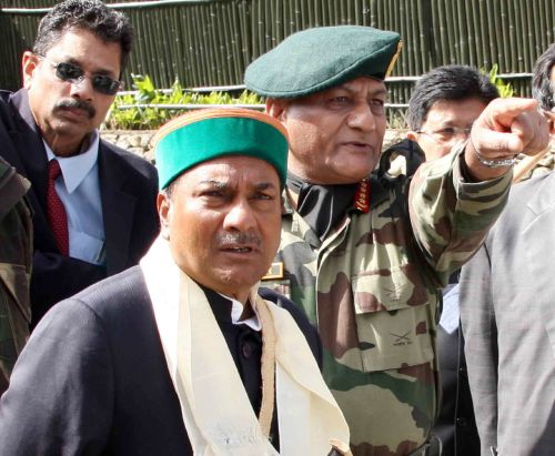 File photo shows Army Chief V K Singh with Defence Minister AK Antony