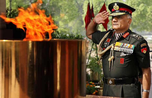 General VK Singh at the Amar Jawan Jyoti in New Delhi
