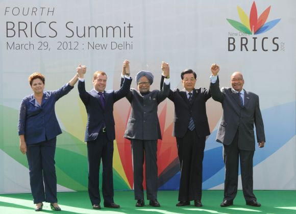 Prime Minister Manmohan Singh with the leaders of BRICS Summit