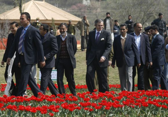 J&K Chief Minister Omar Abdullah at the Tulip garden