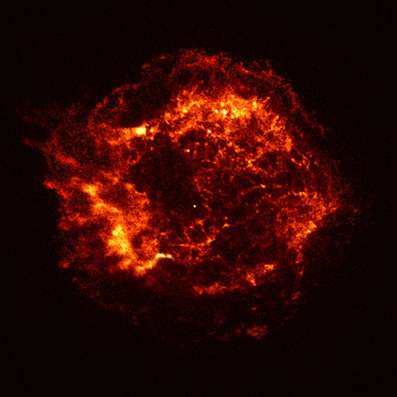 This X-ray image shows an expanding shell of hot gas produced by the explosion. This gaseous shell is about 10 light years in diameter, and has a temperature of about 50 million degrees