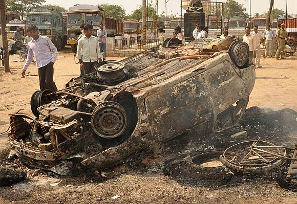 Charred remains of a car