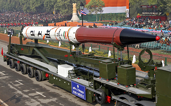 Agni 4 missile is seen during the Republic Day parade
