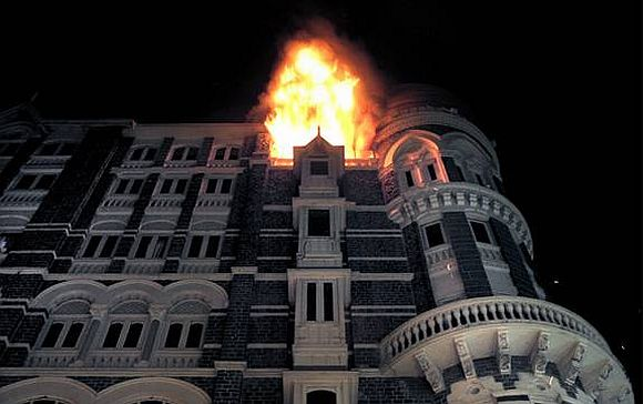 The Taj Hotel on fire during the 26/11 attacks