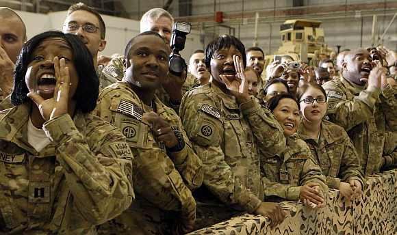Troops at Bagram Air Base react to Obama during his visit to Kabul