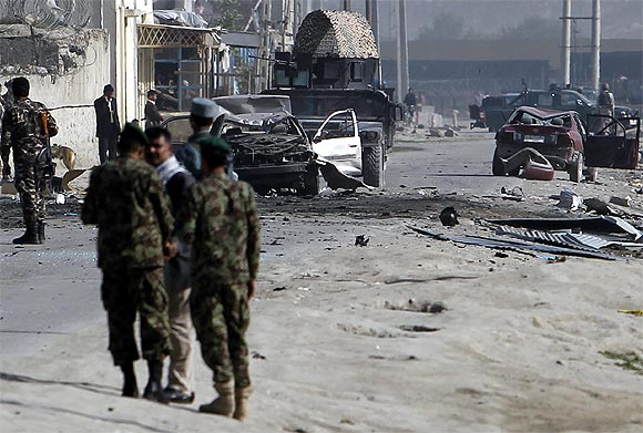 The site of a car bomb attack in Kabul