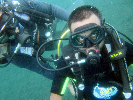 Srin scuba diving in Bali