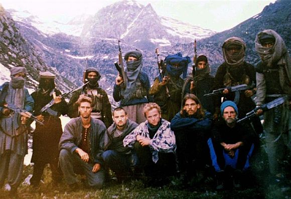 This picture was released by terrorists on July 15, 1995, in Srinagar showing the five western hostages. Hostages seated (left to right) are Keith Mangan (the UK), DrikHasert (Germany), Hans Christian Ostro (Norway), Paul Wells (the UK) and Donald Hutchings (US)